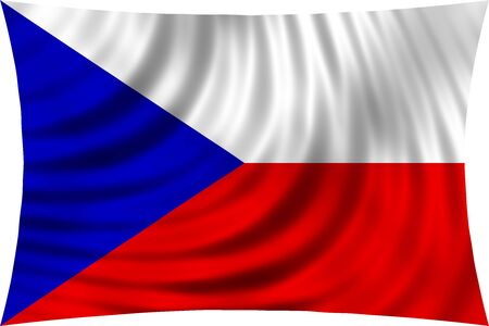 symbolic: Flag of Czech Republic waving in wind isolated on white background. Czech national flag. Patriotic symbolic design. 3d rendered illustration