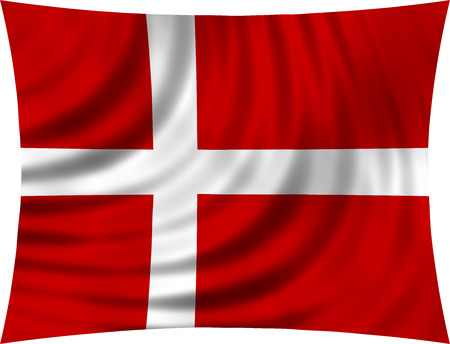 danish: Flag of Denmark waving in wind isolated on white background. Danish national flag. Patriotic symbolic design. 3d rendered illustration Stock Photo