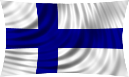 finnish: Flag of Finland waving in wind isolated on white background. Finnish national flag. Patriotic symbolic design. 3d rendered illustration Stock Photo