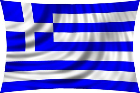 symbolic: Flag of Greece waving in wind isolated on white background. Greek national flag. Patriotic symbolic design. 3d rendered illustration