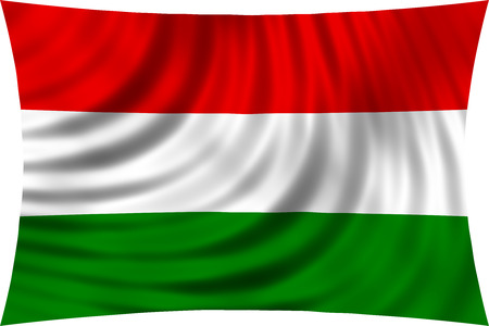 symbolic: Flag of Hungary waving in wind isolated on white background. Hungarian national flag. Patriotic symbolic design. 3d rendered illustration Stock Photo