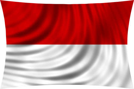 national flag indonesian flag: Flag of Indonesia, Monaco, Hesse (Germany) waving in wind isolated on white background. Indonesian national flag. Patriotic symbolic design. 3d rendered illustration Stock Photo