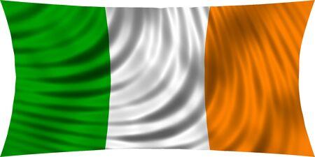 irish pride: Flag of Ireland waving in wind isolated on white background. Irish national flag. Patriotic symbolic design. 3d rendered illustration