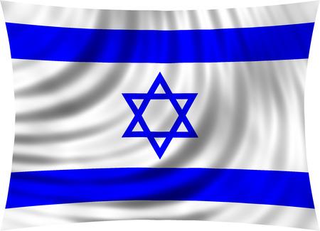 israeli: Flag of Israel waving in wind isolated on white background. Israeli national flag. Patriotic symbolic design. 3d rendered illustration
