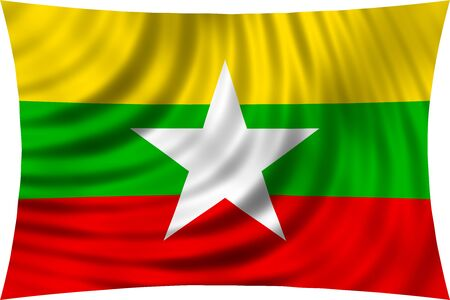 burmese: Flag of Myanmar waving in wind isolated on white background. Myanmar national flag. Patriotic symbolic design. 3d rendered illustration