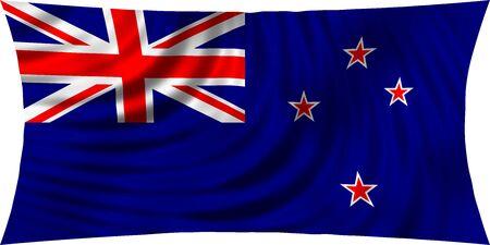 symbolic: Flag of New Zealand waving in wind isolated on white background. New Zealand national flag. Patriotic symbolic design. 3d rendered illustration