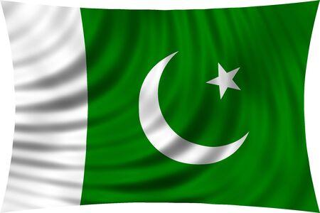 Flag of Pakistan waving in wind isolated on white background. Pakistani national flag. Patriotic symbolic design. 3d rendered illustration