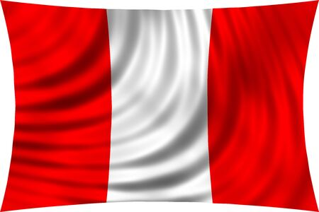 peruvian: Flag of Peru waving in wind isolated on white background. Peruvian national flag. Patriotic symbolic design. 3d rendered illustration Stock Photo