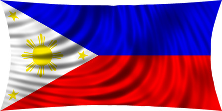 philippine: Flag of Philippines waving in wind isolated on white background. Philippine national flag. Patriotic symbolic design. 3d rendered illustration