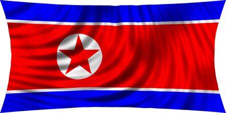 korean national: Flag of North Korea waving in wind isolated on white background. North Korean national flag. Patriotic symbolic design. 3d rendered illustration Stock Photo