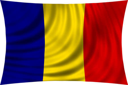 romanian: Flag of Romania waving in wind isolated on white background. Romanian national flag. Patriotic symbolic design. 3d rendered illustration