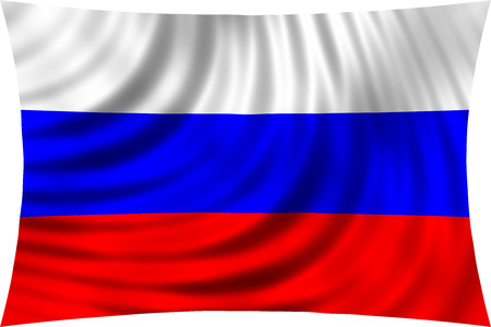 symbolic: Flag of Russia waving in wind isolated on white background. Russian national flag. Patriotic symbolic design. 3d rendered illustration Stock Photo