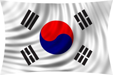 korean national: Flag of South Korea waving in wind isolated on white background. South Korean national flag. Patriotic symbolic design. 3d rendered illustration Stock Photo