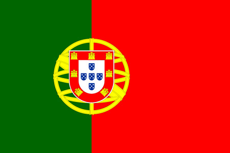 Flag of Portugal in correct size, proportions and colors. Accurate dimensions. Portuguese national flag. Illustration