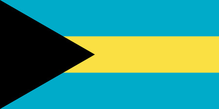 Flag of the Bahamas in correct size, proportions and colors. Accurate dimensions. Bahamian national flag. Vector illustration