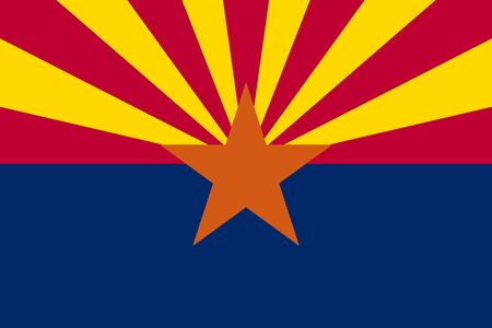 Flag of the US state of Arizona in correct size, proportions and colors. Accurate dimensions. Arizonian official symbol. American patriotic element. USA banner. United States of America background. Vector illustration