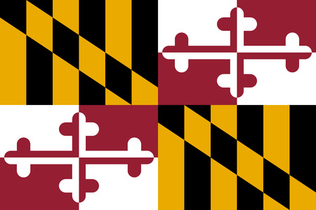 Flag of the US state of Maryland in correct size, proportions and colors. Accurate dimensions. Maryland official symbol. American patriotic element. USA banner. United States of America background. Vector illustration