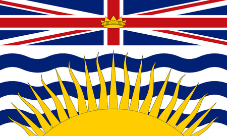 Flag of the Canadian province of British Columbia in correct size, proportions and colors. Canadian BC patriotic element and official symbol. Canada banner and background. Vector illustration