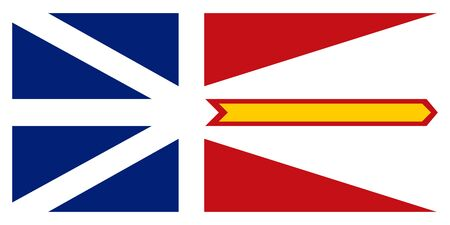 newfoundland: Flag of the Canadian province of Newfoundland and Labrador in correct size, proportions and colors. Canadian NL patriotic element and official symbol. Canada banner and background. Vector illustration Illustration