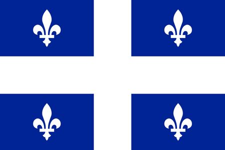 quebec: Flag of the Canadian province of Quebec in correct size, proportions and colors. Canadian QC patriotic element and provincial official symbol. Canada Quebec banner and background. Vector illustration