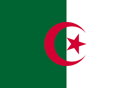 Flag of Algeria in correct size, proportions and colors. Accurate official standard dimensions. Algerian national flag. African patriotic symbol, banner, element, background. Vector illustration