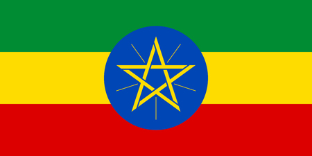 Flag of Ethiopia in correct size, proportions and colors. Accurate official standard dimensions. Ethiopian national flag. African patriotic symbol, banner, element, background. Vector illustration