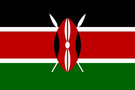 Flag of Kenya in correct size, proportions and colors. Accurate official standard dimensions. Kenyan national flag. African patriotic symbol, banner, element, background. Vector illustration