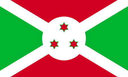 Flag of Burundi in correct size, proportions and colors. Accurate official standard dimensions. Burundian national flag. African patriotic symbol, banner, element, background. Vector illustration