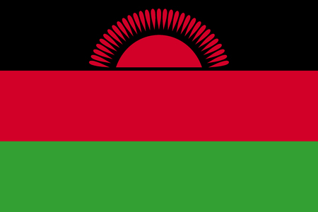 Flag of Malawi in correct size, proportions and colors. Accurate official standard dimensions. Malawian national flag. African patriotic symbol, banner, element, background. Vector illustration