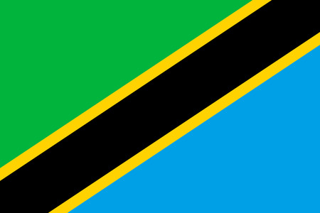 Flag of Tanzania in correct size, proportions and colors. Accurate official standard dimensions. Tanzanian national flag. African patriotic symbol, banner, element, background. Vector illustration Ilustração