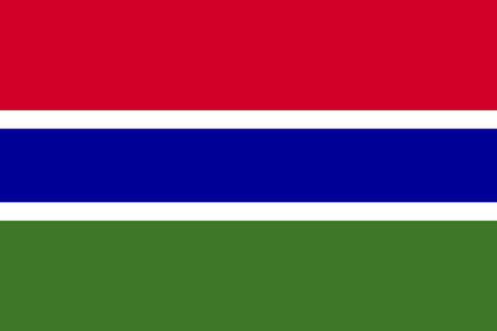 Flag of the Gambia in correct size, proportions and colors. Accurate official standard dimensions. Gambian national flag. African patriotic symbol, banner, element, background. Vector illustration