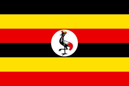 kampala: Flag of Uganda in correct size, proportions and colors. Accurate official standard dimensions. Ugandan national flag. African patriotic symbol, banner, element, background. Vector illustration