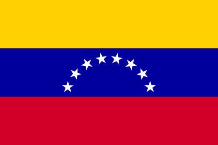 bandera de venezuela: Bandera de Venezuela en el tamaño correcto, la proporción y colores. Precisas dimensiones estándares oficiales. bandera nacional de Venezuela. República Bolivariana de Venezuela símbolo patriótico, bandera, de fondo. Vector