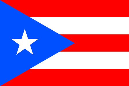 Flag of Puerto Rico in correct size, proportions and colors. Accurate official standard dimensions. Puerto Rican national flag. Patriotic symbol, banner, element, background. Vector illustration Illustration