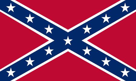 bandera nacional de los Estados Confederados de América. Conocida como batalla confederada, rebelde, cruz del sur, bandera de Dixie. bandera histórica de la CSA. tamaño correcto, colores. símbolo patriótico, bandera. Vector Ilustración de vector