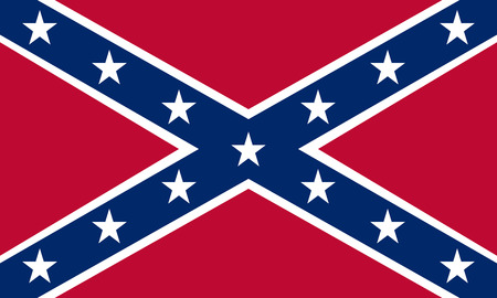 National flag of the Confederate States of America. Known as Confederate Battle, Rebel, Southern Cross, Dixie flag. Historical flag of the CSA. Correct size, colors. Patriotic symbol, banner. Vector Imagens - 62641692