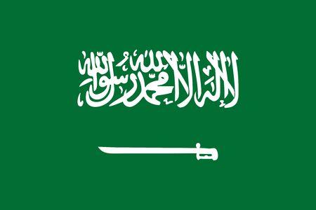 ksa: Flag of Saudi Arabia correct size, proportion, colors. Accurate official standard dimensions. Saudi Arabian national flag. Kingdom of Saudi Arabia patriotic symbol. KSA banner. Arabian design. Vector