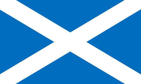 Flag of Scotland in correct size, proportions and colors. Accurate official standard dimensions. Scottish national flag. United Kingdom patriotic symbol. UK banner. British background design. Vector
