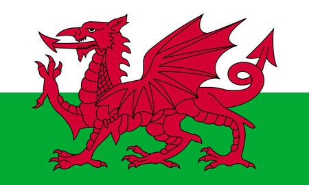 Flag of Wales in correct size, proportion, colors. Accurate official standard dimensions. Welsh national flag. United Kingdom patriotic symbol. UK banner. British background design. Red dragon. Vector Illustration