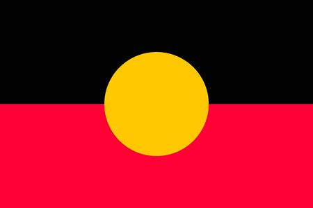 Australian Aboriginal flag in correct size, proportions, colors. Accurate standard dimensions. Aboriginal official flag. Commonwealth of Australia patriotic symbol, banner, element, background. Vector Ilustração