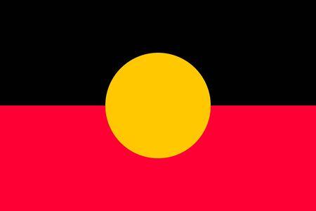 commonwealth: Australian Aboriginal flag in correct size, proportions, colors. Accurate standard dimensions. Aboriginal official flag. Commonwealth of Australia patriotic symbol, banner, element, background. Vector Illustration
