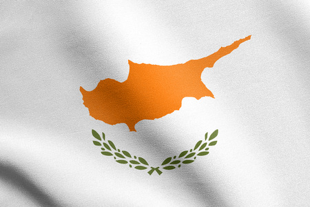national identity: Cypriot national official flag. Patriotic symbol, banner, element, background. Flag of Cyprus waving in the wind with detailed fabric texture