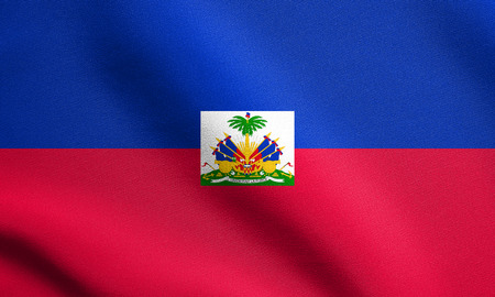 haitian: Haitian national official flag. Patriotic symbol, banner, element, background. Flag of Haiti waving in the wind with detailed fabric texture