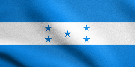 Honduran national official flag. Republic of Honduras patriotic symbol, banner, element, background. Flag of Honduras waving in the wind with detailed fabric texture