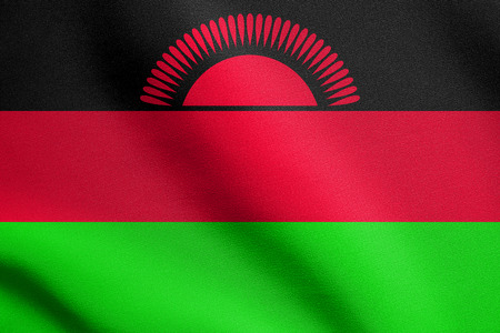malawian: Malawian national official flag. African patriotic symbol, banner, element, background. Flag of Malawi waving in the wind with detailed fabric texture Stock Photo
