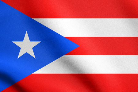 puerto rican flag: Puerto Rican national official flag. Patriotic symbol, banner, element, background. Flag of Puerto Rico waving in the wind with detailed fabric texture Stock Photo