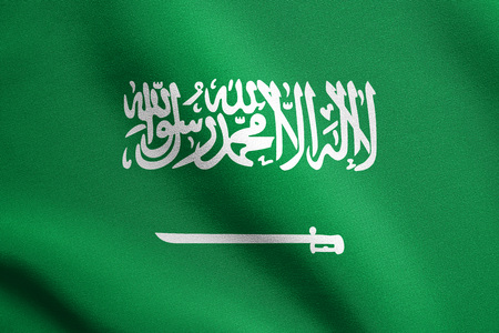 Saudi Arabian national official flag. Patriotic symbol, banner, element, background. Flag of Saudi Arabia waving in the wind with detailed fabric texture