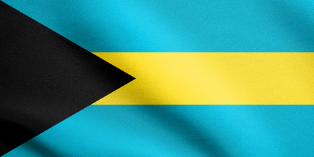 Bahamian national symbol. Patriotic background design. Flag of Bahamas waving in the wind with detailed fabric texture