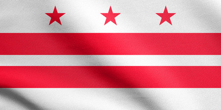 district of columbia: Washington, D.C. official flag, symbol. American patriotic element. USA banner. United States of America background. Flag of the District of Columbia waving in the wind with detailed fabric texture Stock Photo