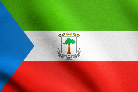 Equatorial Guinean national official flag. African patriotic symbol, banner, element, background. Correct size, colors. Flag of Equatorial Guinea waving in the wind with detailed fabric texture